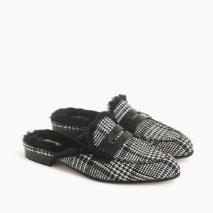 J. Crew Faux Fur-Lined Academy Penny Loafers Mule